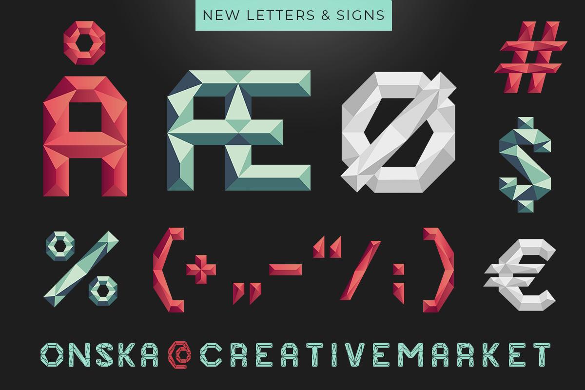 Onska Polygon Font New Letters