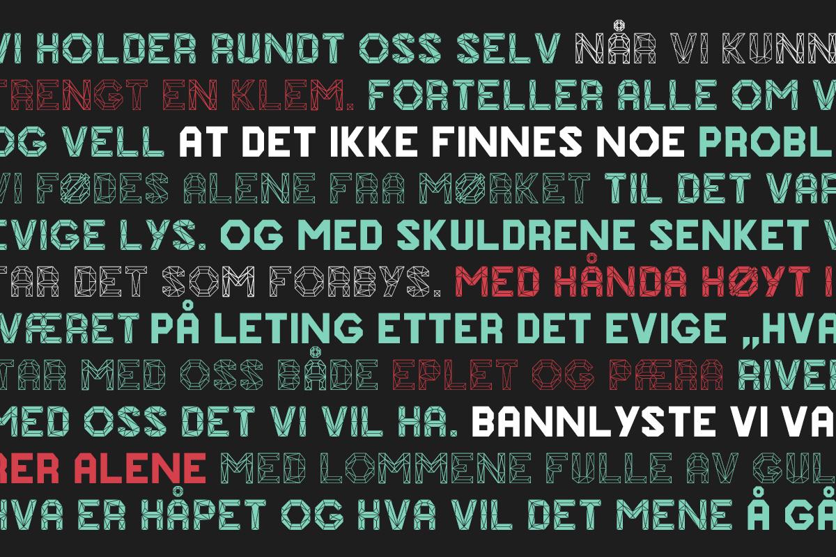 Onska Polygon Font Sample Text